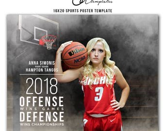 Photoshop Template, Sports Collage Poster, 16x20 Basketball Collage Poster Template, Photography Sports Poster, High School Sports, SPTB1