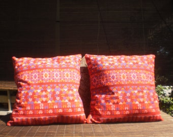 Thai Traditional Print Fabric Cushion Covers, Set Of 2 Covers, Red Pill, Tribal Pillow, Thai Pillow,