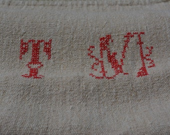 Vintage Linen Grain Sack, European Grainsacks, French Country Decor, Antique French Textile