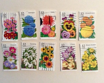 Flowers Used Postage - set of 10 - 32 cent Stamps - Scrapbooking - decoupage - Collage - Embellishments - Kid's Crafts - random assortment