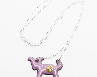 Pink Vitreous Enamel Pup Necklace  RAWF Benefit