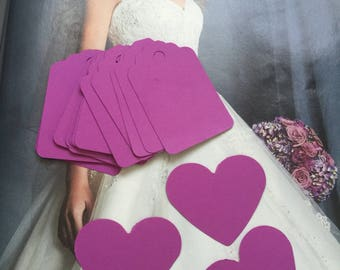 Set of 50 purple Tags,wedding tags,  Favor Tags, Treat Bag Tags, Product Tags, Hang Tags, Wish Tree Tags, birthday tags ,Thank tags,