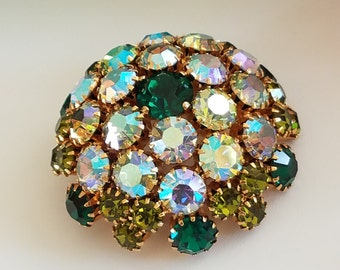 Vintage Warner Domed Rhinestone Brooch Pin Emerald  and Peridot Green & AB Rhinestones, Signed