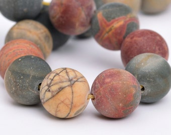 "10MM Matte Picasso Jasper Natural Gemstone Half Strand Round Loose Beads 8"" BULK LOT 1,3,5,10 and 50 (101087h-315)"