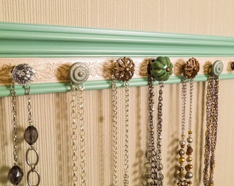 """jewelry necklace holder in Jade w/ champagne embossed centerwith 9 decorative knobs 26"""" great gift of decor and jewelry storage organization"""