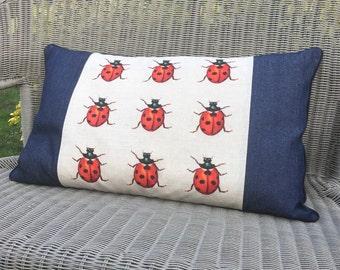 Ladybird cushion. Ladybug pillow. Large Labybug scatter cushion with denim panels.
