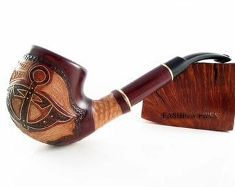 "Marine Style Tobacco Smoking Pipe ""ANCHOR"" Inlaid, Engraved Pear Wood Handcrafted"
