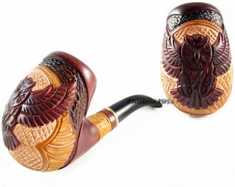 """Wise Tobacco Pipe """"OWL"""" Wooden Pipe and Gift, Smoking Pipe Handcrafted Wood Pipe Tobacciana Pipe for pipe smokers"""