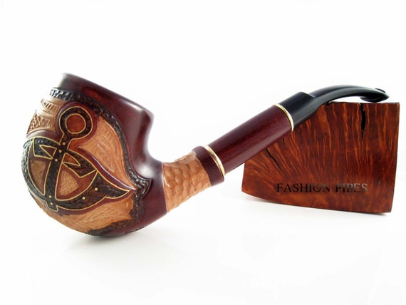 """Marine Style Tobacco Smoking Pipe """"ANCHOR"""" Inlaid, Engraved Pear Wood Handcrafted"""