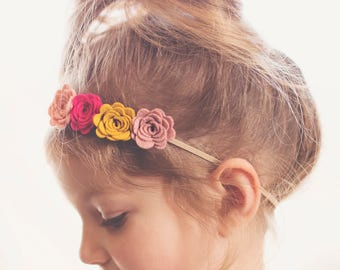 Flower Crown in Pinks and Mustard
