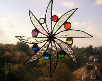Stained Glass Suncatcher|Glass Suncatcher|Pinwheel Design|Rainbow Gems|Iridescent Glass|Glass Art|Handcrafted|Made in USA