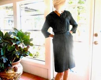 Vintage Lordleigh of California day dress black stripe 1940's shirt dress: small, medium