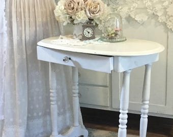 Shabby White Table, Accent Table, Side table, Small Writing Table, Chippy distressed table, end table, telephone table,painted table, fanny