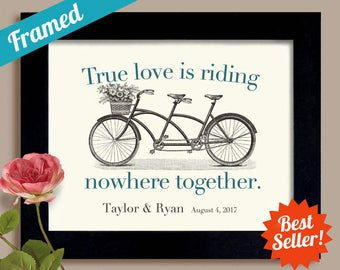 True Love Framed Wedding Gift Bicycle for Two Tandem Bicycle Romantic Gift Bride and Groom Bicycle Wedding Newlyweds Engagement Gift