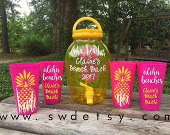 Personalized Bachelorette Cups & Drink Dispenser / Aloha Beaches / Beach Bachelorette / Girls Weekend / Personalized Plastic Tumblers