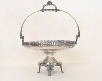 Meriden Company 1864 Footed Silverplate Bride's Basket Silver Ornate Wedding Decor Serving Dish Home Decor Shabby Cottage Chic Handled Dish