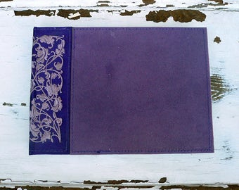 Address Book, Vintage Hard Cover Purple Suede & embroidery Leaves Design Fabric Phone Address Book, In Excellent Condition, Shipped in 1 day
