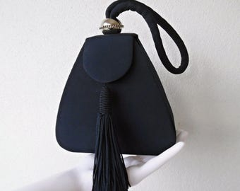 THE PYRAMID BOX . Adorable Little Small Mini Handbag Evening Opera Cocktail Special Occasion Bag Navy Blue Art Deco Style Tassel