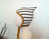 Pixie hat stripes black white mustard stripped baby bonnet pilot cap monochrome