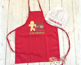 "Kids Christmas Apron- ""Official Cookie Taster"" - Kids cookie baker apron - personalized holiday apron - Christmas gingerbread cookie apron"