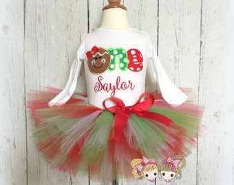 Gingerbread Christmas outfit - 1st Birthday Christmas outfit - Christmas birthday outfit - 1st birthday tutu outfit - Christmas tutu outfit