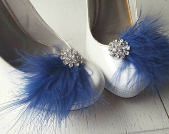 Navy Blue Shoe Clips, Bridal Shoe Clips, Feather Shoe Clips, Womens Shoe Clips, Rhinestone Shoe Clips, Clips for Wedding Shoes, Bridal Shoes