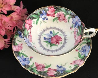 Sweet Pea Paragon Tea Cup ~~ English Tea Cup and Saucer ~~ Bone China Cup and Saucer ~~ Pink and Blue Floral Tea Cup