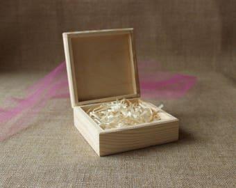 square photo box / set of 5 / unfinished wooden box / jewelry box / prints box