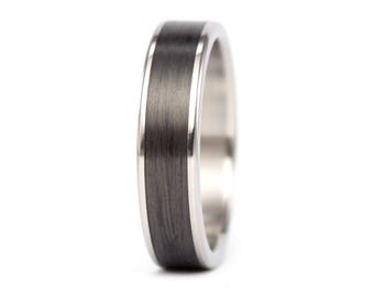 Men's titanium and carbon fiber ring . Unique and industrial black wedding band. Water resistant hypoallergenic. (00333_7N)
