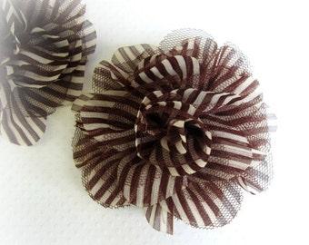Sale Brown Stripe Chiffon Flower, Brown and White. 1 PC. PF1011