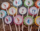Trolls Cupcake Toppers-Trolls Toppers-Trolls Birthday Decoration-Trolls Party Decoration-Trolls Birthday Party-Girl's Trolls Cupcake Toppers