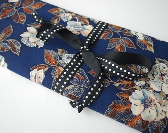 Bag for needles Knitting Needle Case Organizer-30 pockets for all size needles  floral pattern with navy background