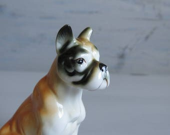 Boxer Dog Figurine Ornament - Ceramic Dog Figurine - Sitting Boxer Dog