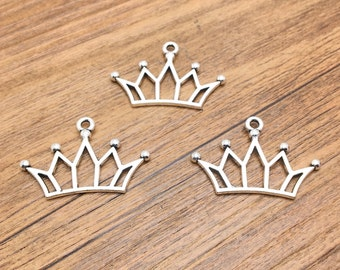 Crown Charms -25pcs Antique Silver Filigree Crown Charm Pendants 16x30mm AC208-5