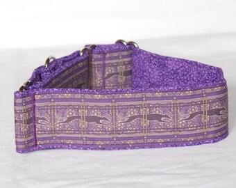 "2"" Martingale Dog Collar Greyhound Running - Paisley Stripes - Purple"