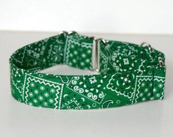 """1.5"""" Martingale Dog Collar Green Bandana"""