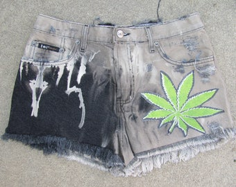 Upcycled black distressed cut off CANNABIS/POT shorts
