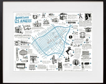 Illustrated Map of Downtown LA- SIGNED by Wendy
