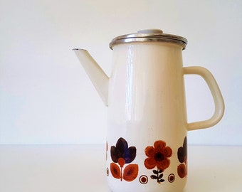 Vintage Enamel Coffee pot with flowers - Made in Yugoslavia