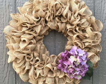 Burlap Wreath - Spring Wreath - Summer Wreath - Hydrangea Wreath - Beige Wreath - Neutral Wreath - Large Wreath - Rustic Wreath - Tan Wreath
