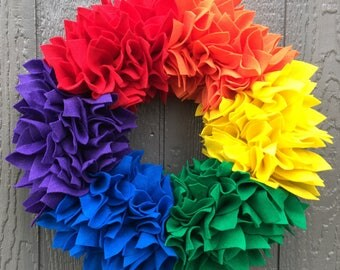 Rainbow Wreath - Felt Wreath - Rag Wreath - Large Wreath - Bright Wreath - Summer Wreath - Spring Wreath - Flower Wreath - Pride Wreath