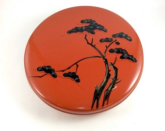 Vintage Japanese snack dish/serving tray. Red lacquered melamine with stylized tree in black lacquer and silver metallic lid decoration