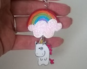 Rainbow and Unicorn Charm Keychain Gift Ooak Small Figurine Toy Cute Bag Charm Red Orange Green Blue Purple Fantasy