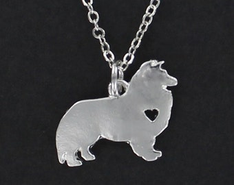 COLLIE DOG Silhouette Necklace - Tiny Heart Cutout Stainless Charm on a FREE Plated Chain