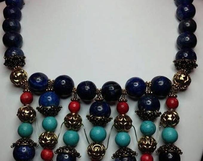 Tribal Necklace with Lapiz Lasuli, Magnasite Turquoise, Coral Semi-precious stones