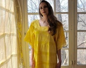WELCOME SPRING SALE Sunshine Yellow Vintage Mexican Tipicano Maxi Dress/Tiered Pleated Kaftan/Beachy Resort Lounge Dress/Size Medium
