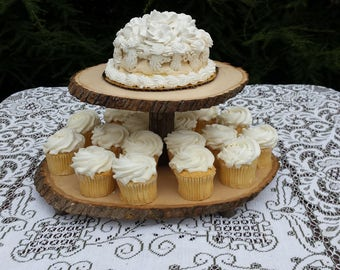 Rustic Cupcake Stand, Log Cupcake Stand, Tree Cupcake Stand, Rustic Wedding, Rustic Cake Stand, Wood Cupcake Stand, 2 Tier Stand