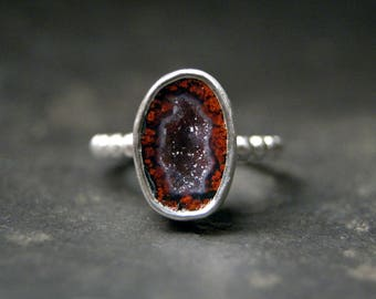 Red Tabasco Geode Druzy Ring in Sterling Silver, beaded band