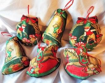 Vintage Fabric Ornaments Christmas Mice Set of Six 6