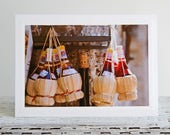 Tuscan Chianti Bottles Photo Greeting Card, Shop in San Gimignano, Italian Street Life, Souvenir from Tuscany, Fine Art Travel Photography,